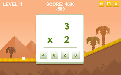 Answer equations in Arcade Golf Multiplication | Multiplication.com