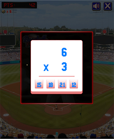 Math Facts in Baseball Pro Subtraction | Multiplication.com