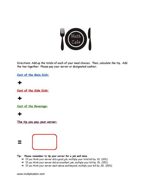 Math cafe fun end of year math activity the video from math tutor dvd that brilliantly explains how to calculate a tip for ones restaurant bill ibookread Read Online