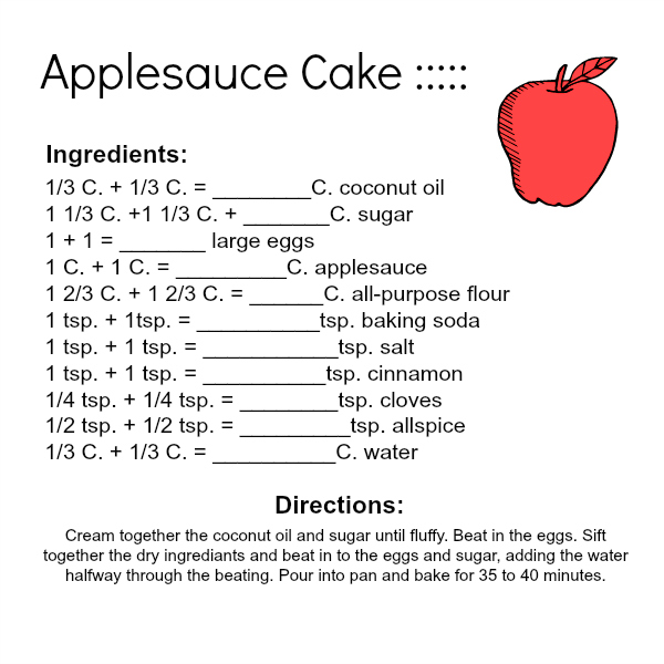 Applesauce Cake Kitchen Math And Pdf. When The Cake Is Removed From Oven And Has Cooled Allow Your Kids To Measure Find Area Perimeter Included In Pdf. Worksheet. Cooking Math Worksheets At Mspartners.co