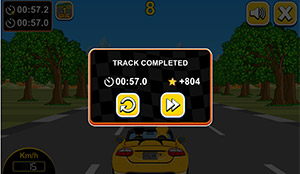 Track complete in Car Rush Multiplication | Multiplication.com
