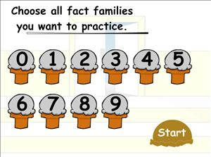 Choose Fact Families in Cone Crazy Subtraction | Multiplication.com