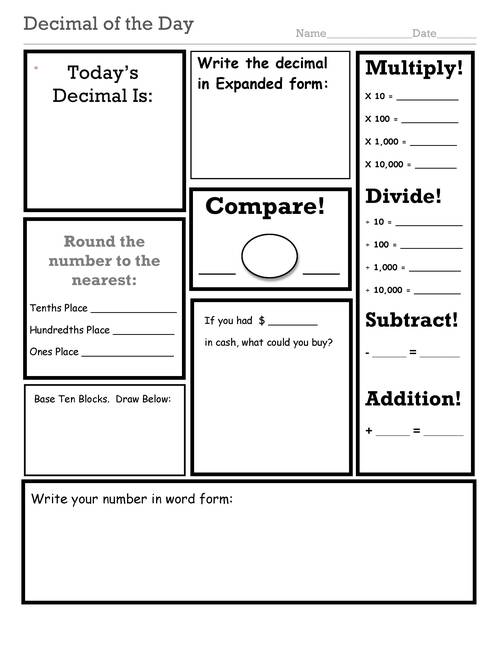 decimal fraction and numberoftheday worksheets