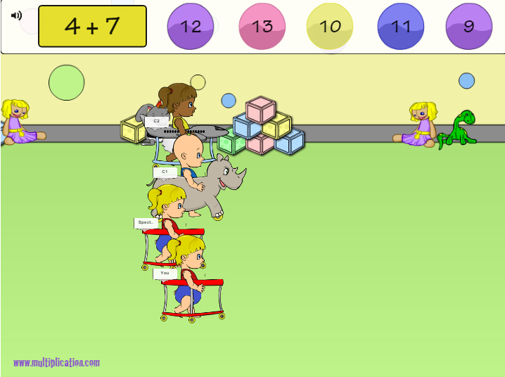Solve Addition Problems to Win in Diaper Derby Multiplayer Addition | Multiplication.com