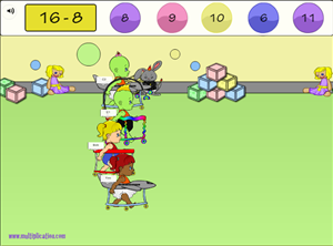 Solve the Facts in Diaper Derby Multiplayer Subtraction | Multiplication.com