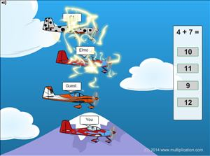 Solve the Facts to Fly Fast in Flying High Race Addition | Multiplication.com