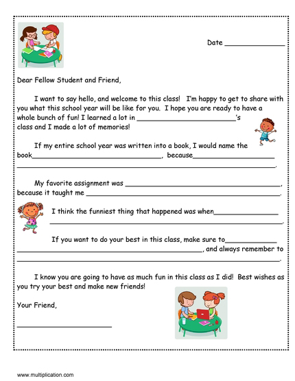 a friendly letter to next years student with free template