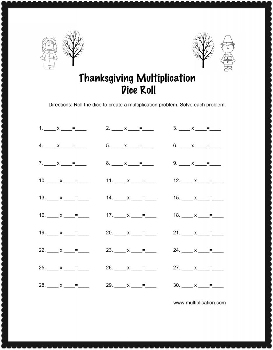 Worksheets Thanksgiving Multiplication Worksheets thanksgiving multiplication dice roll worksheet image196 jpg