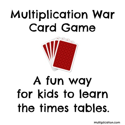 Multiplication War Card Game Multiplication