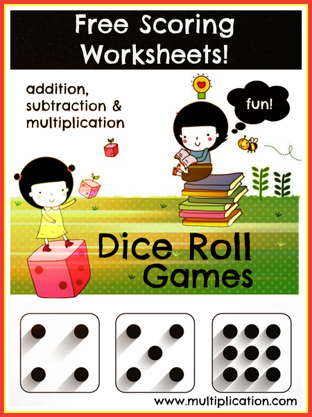 Dice Roll Games: Addition, Subtraction, and Multiplication