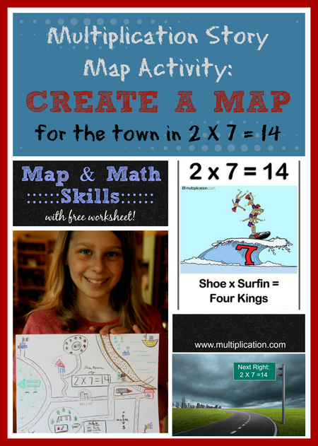 Multiplication Story and Map Activity for 2 X 7 = 14