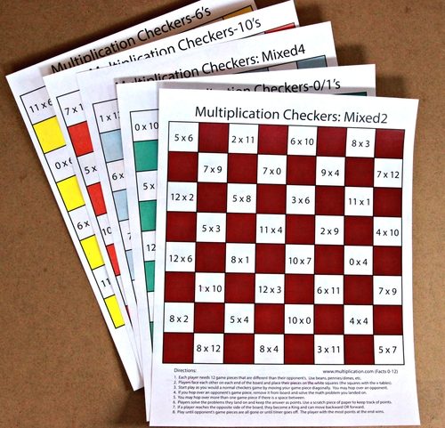 graphic regarding Printable Checkers Board identified as Multiplication Checkers