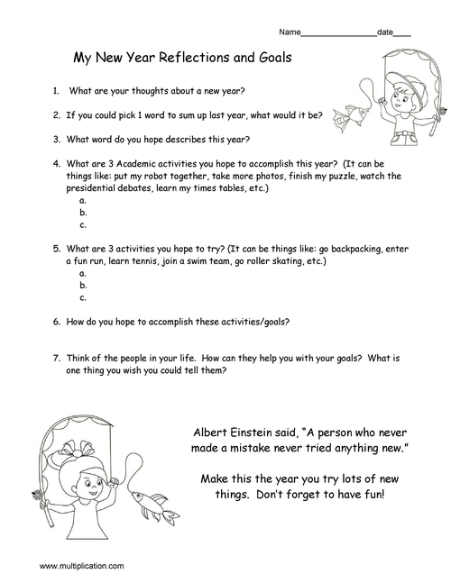 Free New Year Reflection and Goal Setting Worksheet