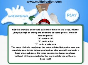 How to Play Snowboard Challenge Subtraction | Multiplication.com