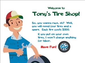 Welcome to Tony's Tires Addition | Multiplication.com
