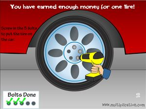 Put on Your New Tires in Tony's Tires Addition | Multiplication.com