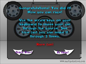 Solve the Problems to Race in Tony's Tires Addition | Multiplication.com