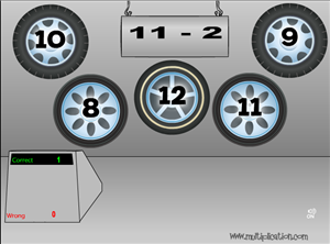Solve Facts in Tony's Tires Subtraction | Multiplication.com