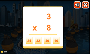 Answer equations in Watercraft Rush Subtraction | Multiplication.com